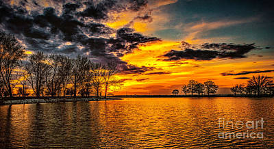 Riverview Beach Park Sunset Art Print by Nick Zelinsky