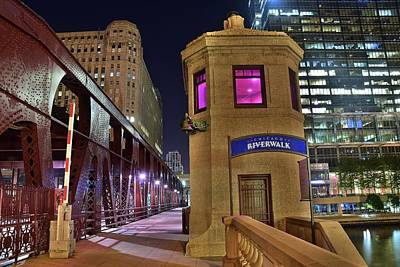 Photograph - Riverwalk At Night by Frozen in Time Fine Art Photography