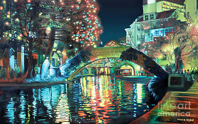 Xmas Painting - Riverwalk by Baron Dixon
