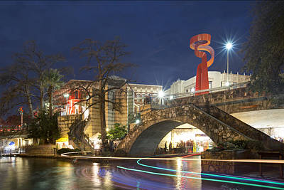 Riverwalk In San Antonio Texas At Night 1 Art Print by Rob Greebon