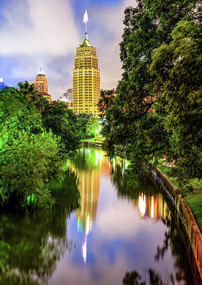 Photograph - Riverwalk Reflections Of The San Antonio Texas Skyline by Gregory Ballos