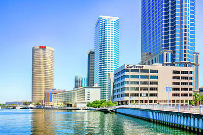 Photograph - Riverwalk Skyline Tampa by Chris Smith
