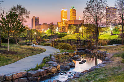 Photograph - Riverwalk To The Tulsa Oklahoma Skyline  by Gregory Ballos