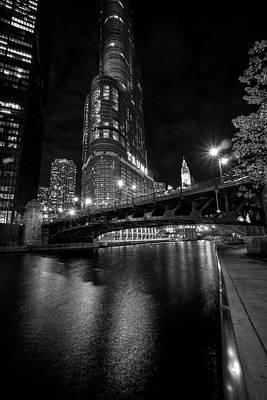 Riverwalk Photograph - Riverwalk - Wabash Avenue Bridge - Trump Tower by Daniel Hagerman