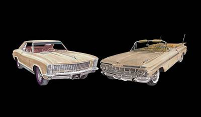 Painting - Riviera And Impala 1965 And 1959 by Jack Pumphrey