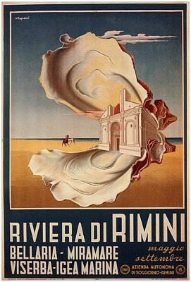 Mixed Media - Riviera Di Rimini, Italy - Retro Travel Poster - Vintage Poster by Studio Grafiikka