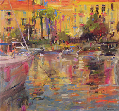 Warm Colors Painting - Riviera Moorings  by Peter Graham
