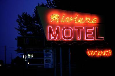 Stop Sign Photograph - Riviera Motel by Odd Jeppesen