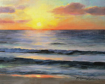 Cancun Painting - Riviera Sunrise by Anna Rose Bain