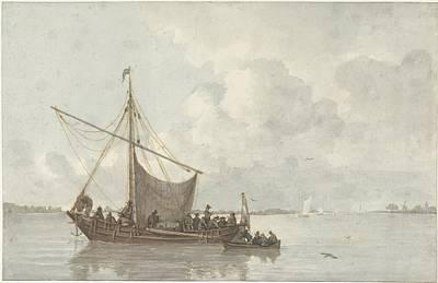 Painting - Riviergezicht   Gerrit Lamberts  1786  1850 Boat Seascape by R Muirhead Art