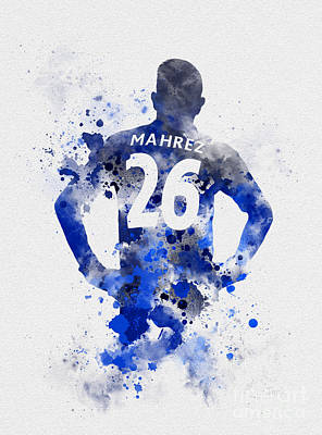 Power Mixed Media - Riyad Mahrez by Rebecca Jenkins