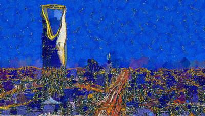 Painting - Riyadh Skyline At Night by Dan Sproul