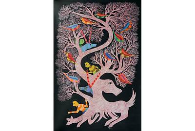 Gond Tribal Art Painting - Rkt 13 by Ravi Kumar Tekam