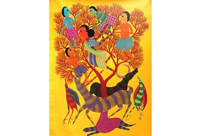 Gond Tribal Art Painting - Rkt 14 by Ravi Kumar Tekam