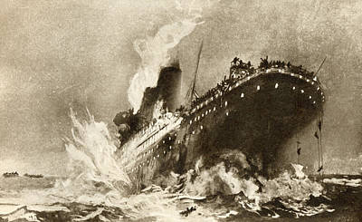 Titanic Drawing - Rms Titanic Of The White Star Line by Vintage Design Pics