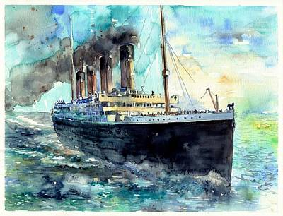 Chimney Painting - Rms Titanic White Star Line Ship by Suzann's Art