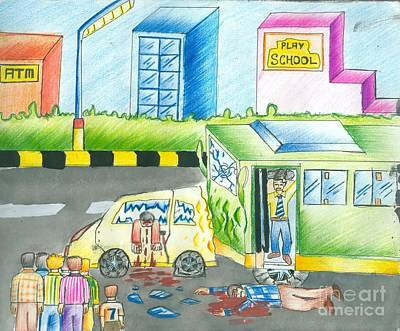 Atm Machine Painting - Road Accident by Tanmay Singh