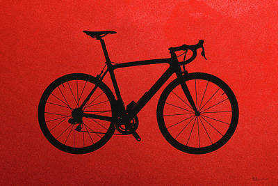 Digital Art - Road Bike Silhouette - Black On Red Canvas by Serge Averbukh