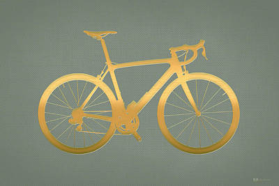 Digital Art - Road Bike Silhouette - Gold On Beige Canvas by Serge Averbukh