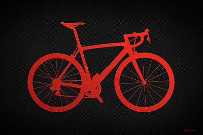 Digital Art - Road Bike Silhouette - Red On Black Canvas by Serge Averbukh