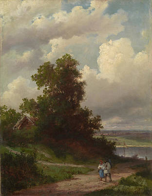 Alexei Savrasov Painting - Road By The Volga River by Alexei Savrasov
