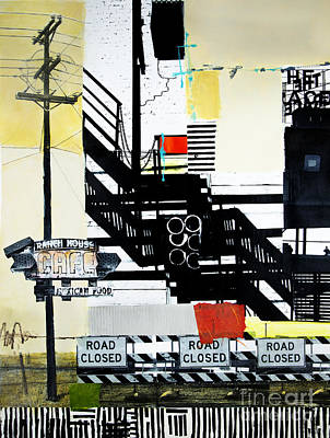 Mixed Media - Road Closed by Elena Nosyreva