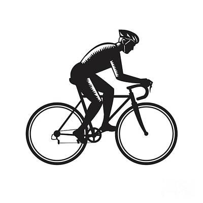 Road Cyclist Racing Woodcut Art Print