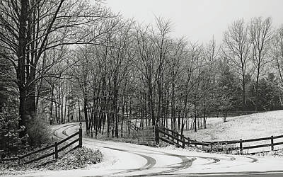 Photograph - Road In The Snow Black And White by Tatiana Travelways