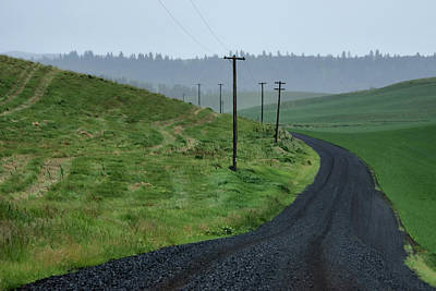 Telephone Poles Photograph - Road - Rainy Day - Palouse by Nikolyn McDonald