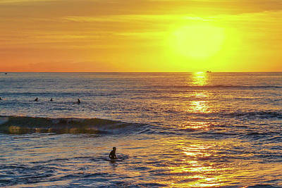 A Summer Evening Photograph - Bathing In The Warm Sea At Sunset Is A Great Pleasure by George Westermak