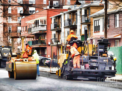 Painting - Road Roller And Asphalt Paving Machine  by Lanjee Chee