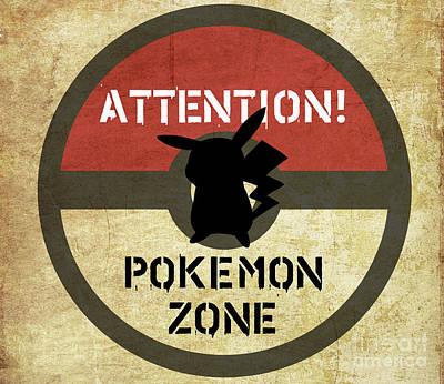 Sold Recent Digital Art - Road Signage Pokemon Zone by Irina Effa