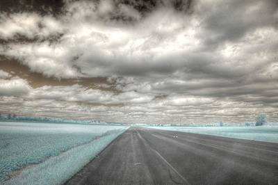 Infared Photograph - Road Sky Infrared Clouds Landscape Open Road Travel Path Road Trip by Jane Linders