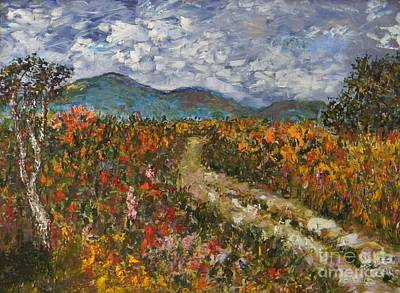 Road Through Colored Meadows Art Print by Emily Michaud