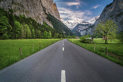 Road Through Lauterbrunnen Valley Print by James Udall