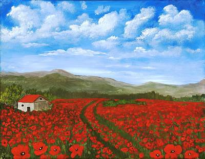 Hypnotic Drawing - Road Through The Poppy Field by Anastasiya Malakhova