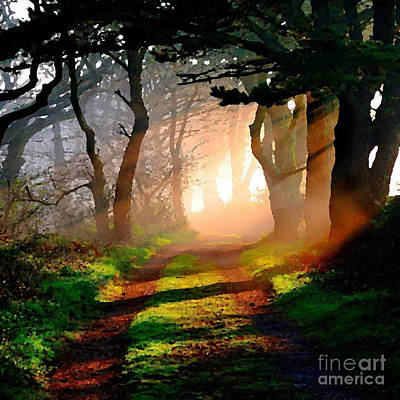 Digital Art - Road Through The Woods by Rod Jellison