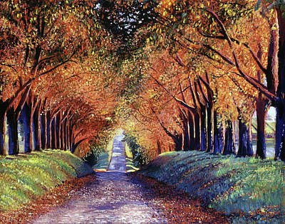 Autumn Scenic Painting - Road To Cognac by David Lloyd Glover