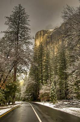 Road To El Capitan After Snow Storm At Sunrise Art Print