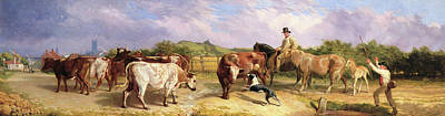 Cattle Dog Painting - Road To Gloucester Fair by Briton Riviere