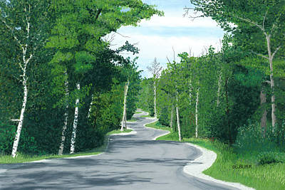 Pastel - Road To Northport - Summer by George Burr