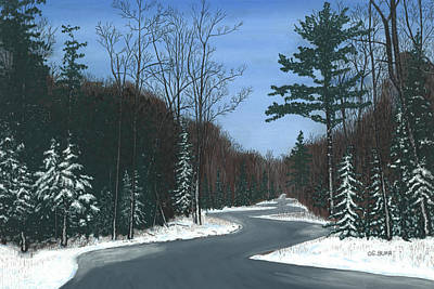 Pastel - Road To Northport - Winter by George Burr