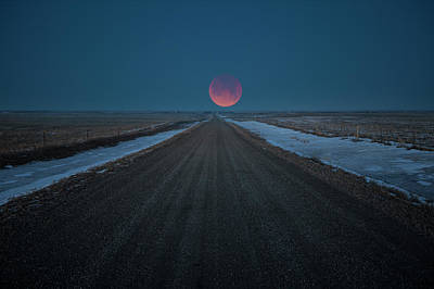 Photograph - Road To Nowhere - Blood Moon  by Aaron J Groen