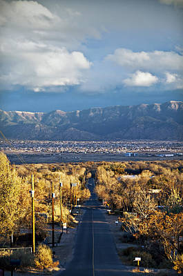 Sandias Photograph - Road To Sandia Mountains by Ray Laskowitz - Printscapes