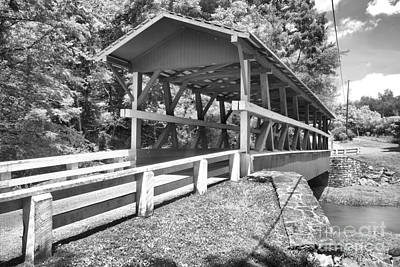 Photograph - Road To The Colvin Covered Bridge Black And White by Adam Jewell