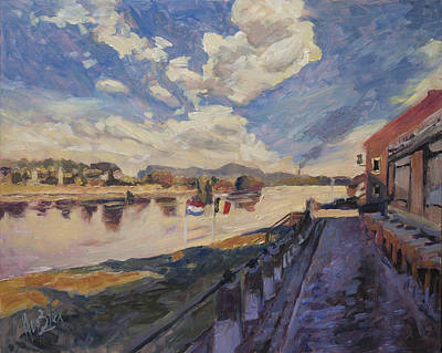River Painting - Road To The Ferry Over The River Meuse At Eijsden by Nop Briex