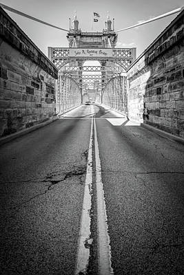 Photograph - Road To The John A. Roebling Bridge - Cincinnati Ohio - Black And White by Gregory Ballos