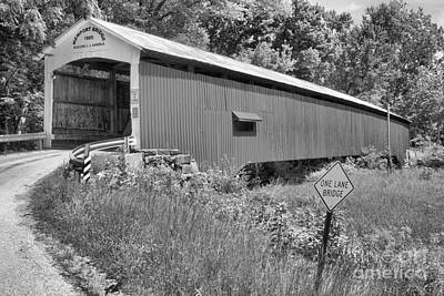 Photograph - Road To The Newport Covered Bridge Black And White by Adam Jewell