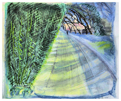 Long Street Drawing - Road Uphill by Don Schaeffer
