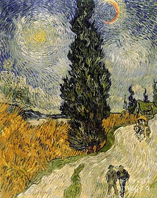 Gogh Painting - Road With Cypresses by Vincent Van Gogh
